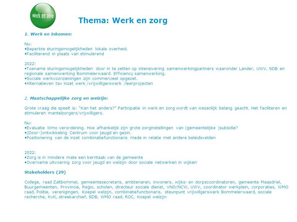 Thema: Werk en zorg 1. Werk en inkomen: Nu: Beperkte sturingsmogelijkheden lokale overheid. Faciliterend in plaats van stimulerend 2022: Toename sturi