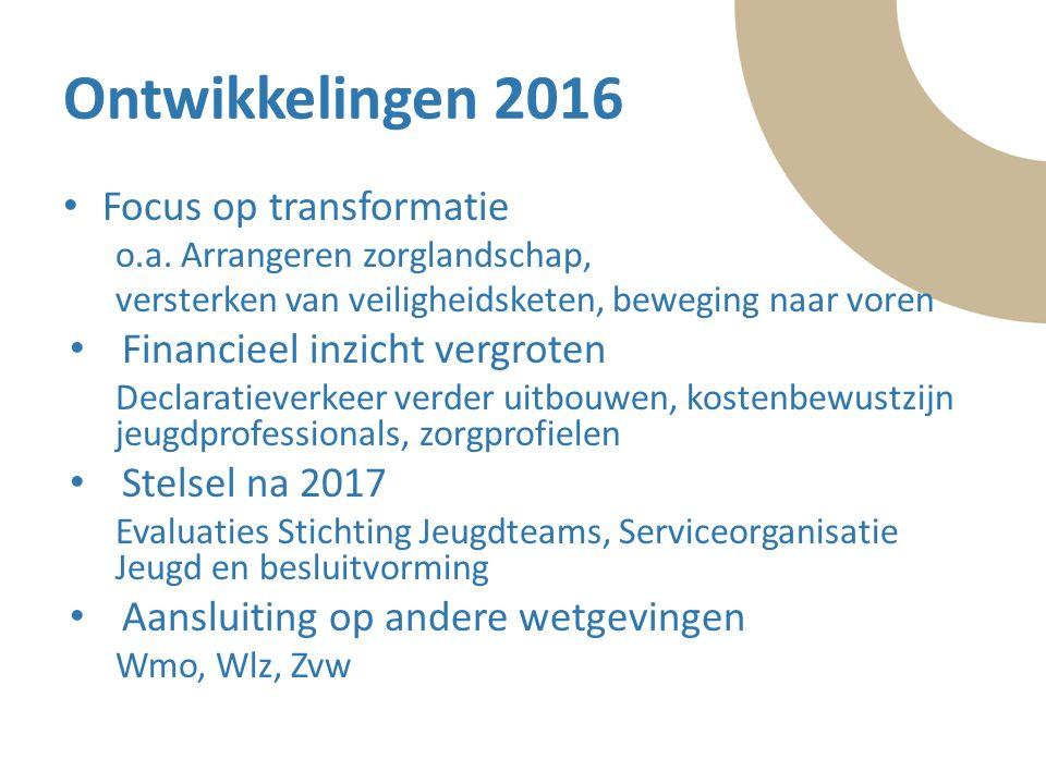 Tekst Ontwikkelingen 2016 Focus op transformatie o.a. Arrangeren zorglandschap, versterken van veiligheidsketen, beweging naar voren Financieel inzich