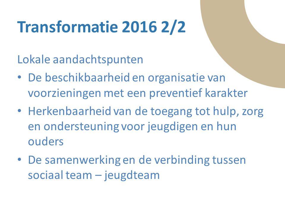 Tekst Transformatie 2016 2/2 Lokale aandachtspunten De beschikbaarheid en organisatie van voorzieningen met een preventief karakter Herkenbaarheid van