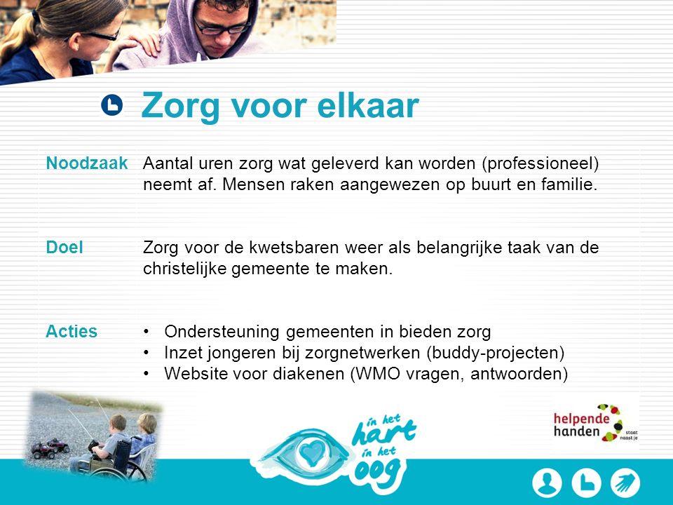 Zorg voor elkaar NoodzaakAantal uren zorg wat geleverd kan worden (professioneel) neemt af.