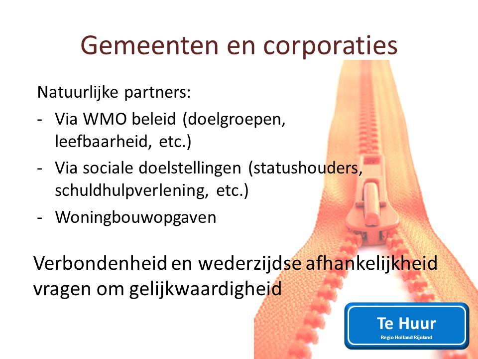 Gemeenten en corporaties Natuurlijke partners: -Via WMO beleid (doelgroepen, leefbaarheid, etc.) -Via sociale doelstellingen (statushouders, schuldhul