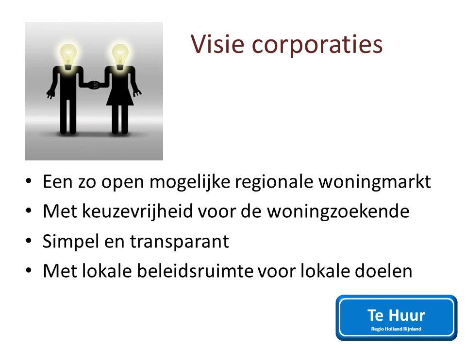 Visie corporaties Een zo open mogelijke regionale woningmarkt Met keuzevrijheid voor de woningzoekende Simpel en transparant Met lokale beleidsruimte