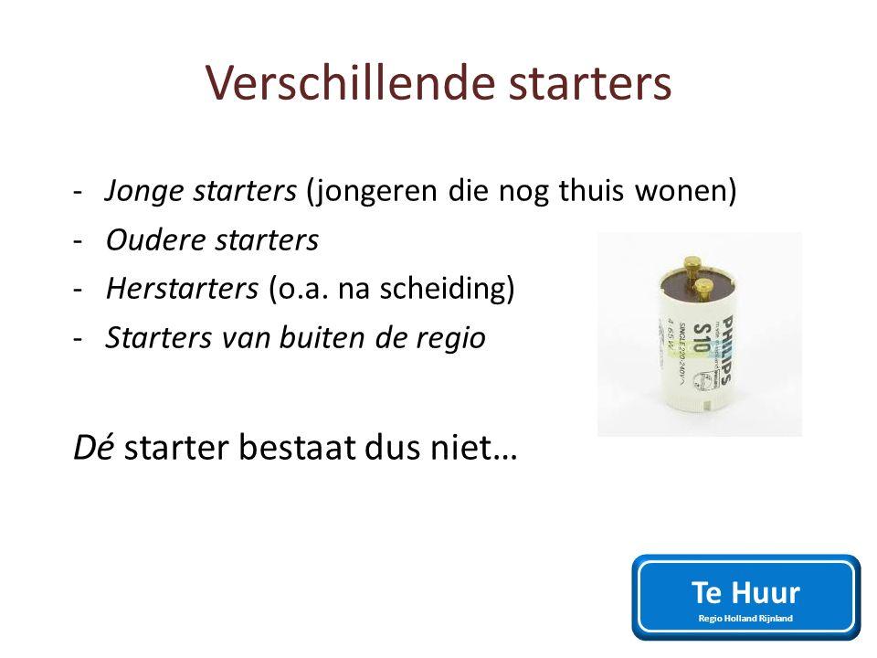 Verschillende starters -Jonge starters (jongeren die nog thuis wonen) -Oudere starters -Herstarters (o.a. na scheiding) -Starters van buiten de regio