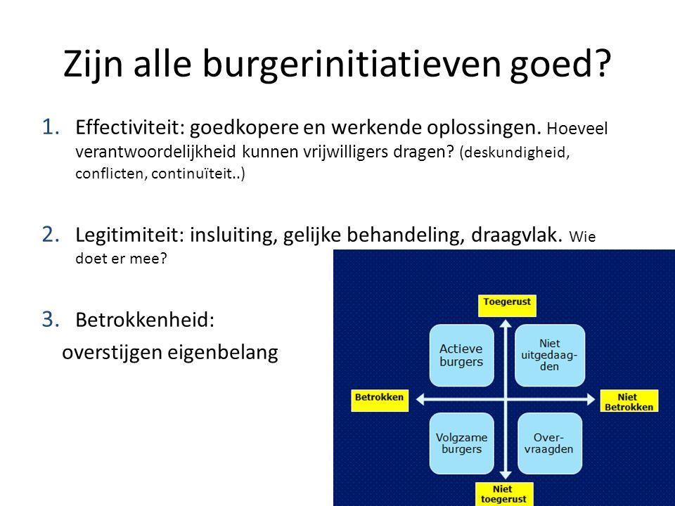 Zijn alle burgerinitiatieven goed. 1. Effectiviteit: goedkopere en werkende oplossingen.