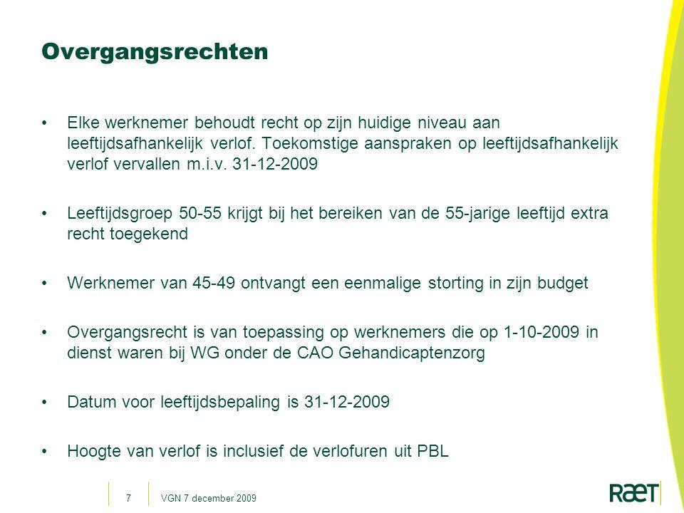 VGN 7 december 200938 Verlof via Dienstroosterplanningsysteem.