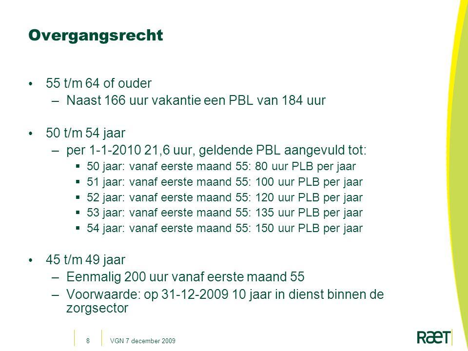 VGN 7 december 200919 Kiezen besteding PBL (Een deel) verlof opnemen verlofsparen Uren levensloopverlof Maxium 175 uur Pre-pensioen