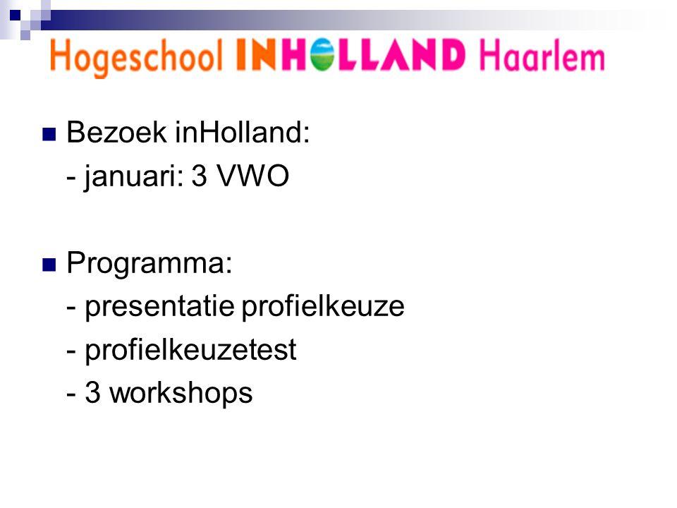 Bezoek inHolland: - januari: 3 VWO Programma: - presentatie profielkeuze - profielkeuzetest - 3 workshops