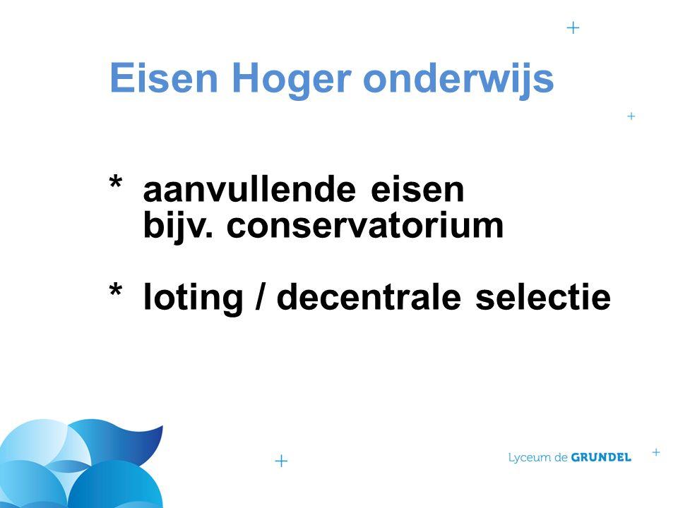 Eisen Hoger onderwijs *aanvullende eisen bijv. conservatorium *loting / decentrale selectie