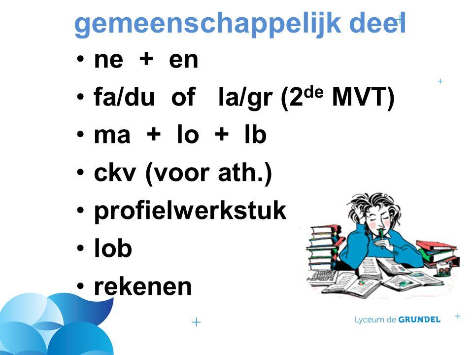 gemeenschappelijk deel ne + en fa/du of la/gr (2 de MVT) ma + lo + lb ckv (voor ath.) profielwerkstuk lob rekenen