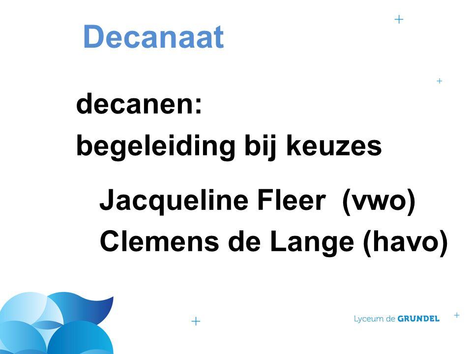 Decanaat decanen: begeleiding bij keuzes Jacqueline Fleer (vwo) Clemens de Lange (havo)