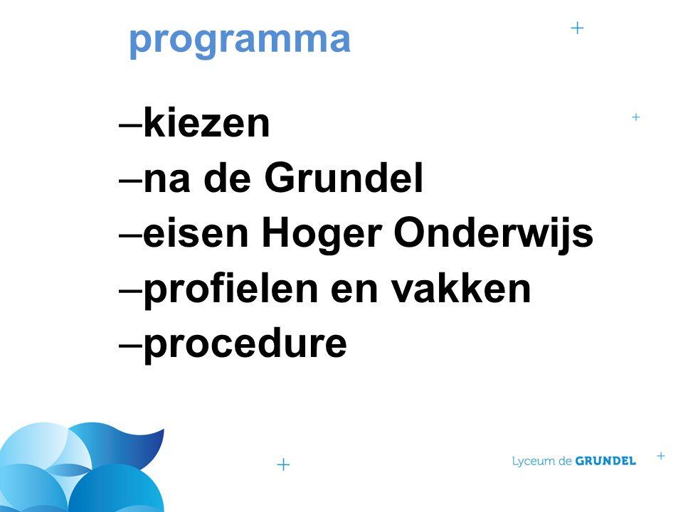 programma –kiezen –na de Grundel –eisen Hoger Onderwijs –profielen en vakken –procedure