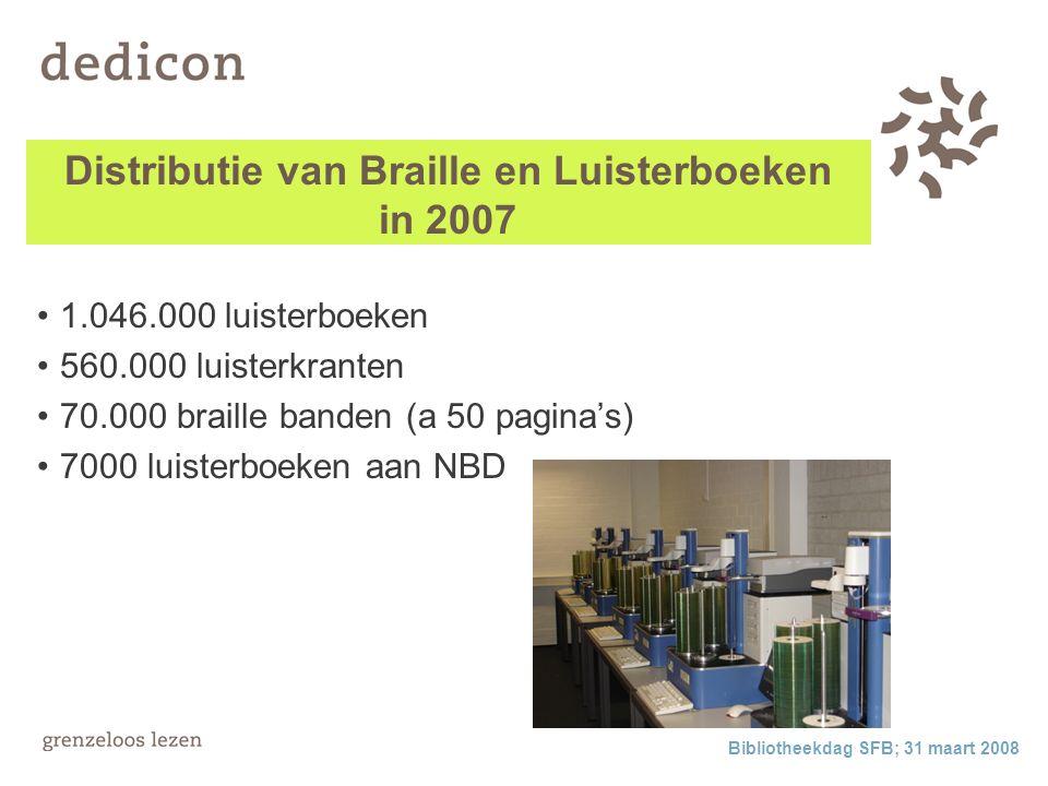 Bibliotheekdag SFB; 31 maart 2008 Distributie van Braille en Luisterboeken in 2007 1.046.000 luisterboeken 560.000 luisterkranten 70.000 braille banden (a 50 pagina's) 7000 luisterboeken aan NBD