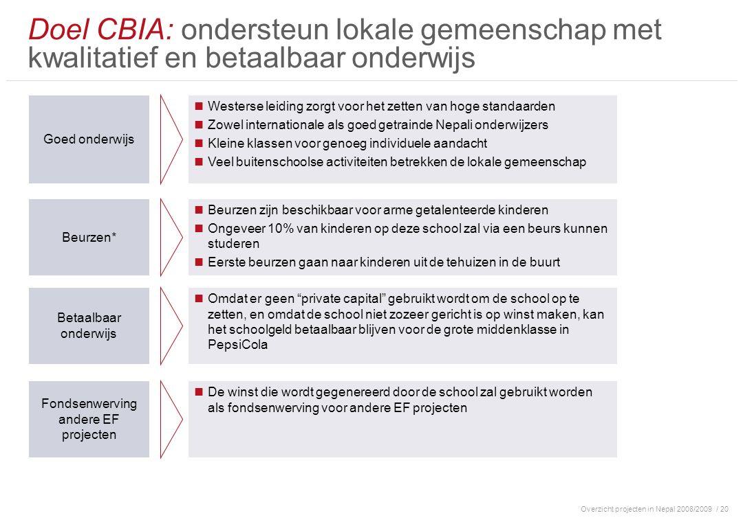 Overzicht projecten in Nepal 2008/2009/ 20 Doel CBIA: ondersteun lokale gemeenschap met kwalitatief en betaalbaar onderwijs Goed onderwijs Westerse le