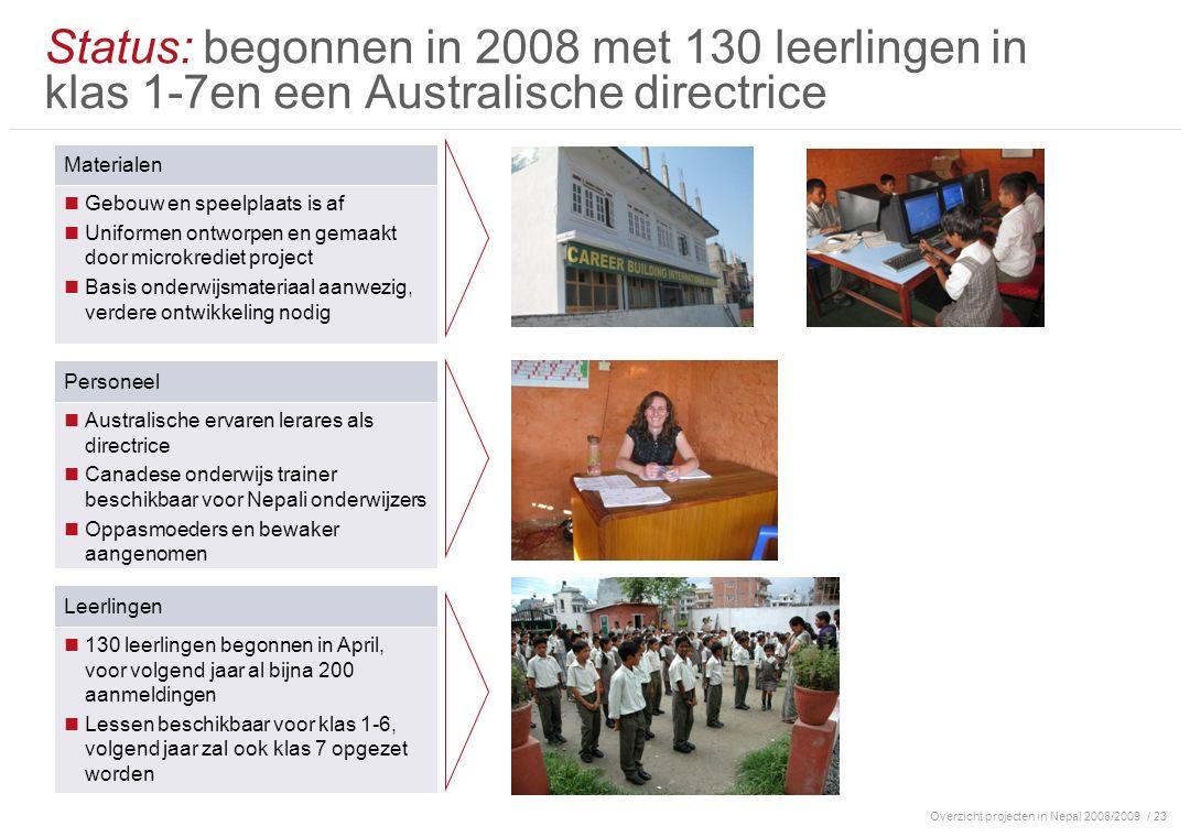 Overzicht projecten in Nepal 2008/2009/ 23 Status: begonnen in 2008 met 130 leerlingen in klas 1-7en een Australische directrice Materialen Gebouw en