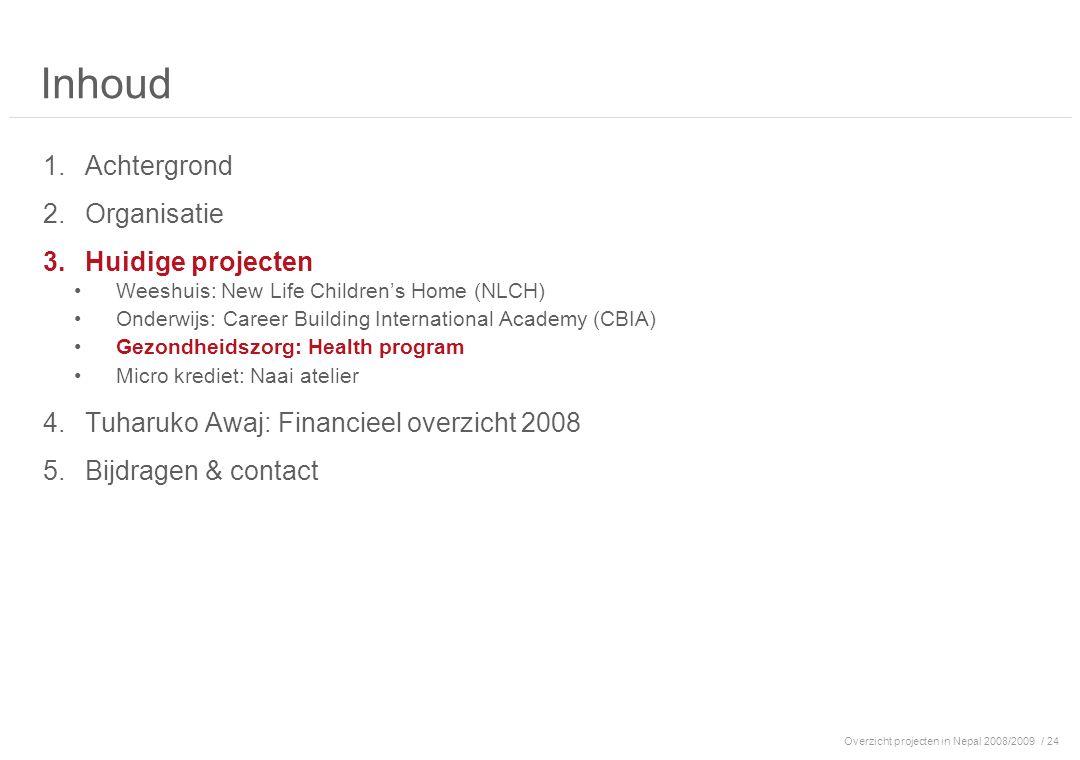 Overzicht projecten in Nepal 2008/2009/ 24 Inhoud 1.Achtergrond 2.Organisatie 3.Huidige projecten Weeshuis: New Life Children's Home (NLCH) Onderwijs: