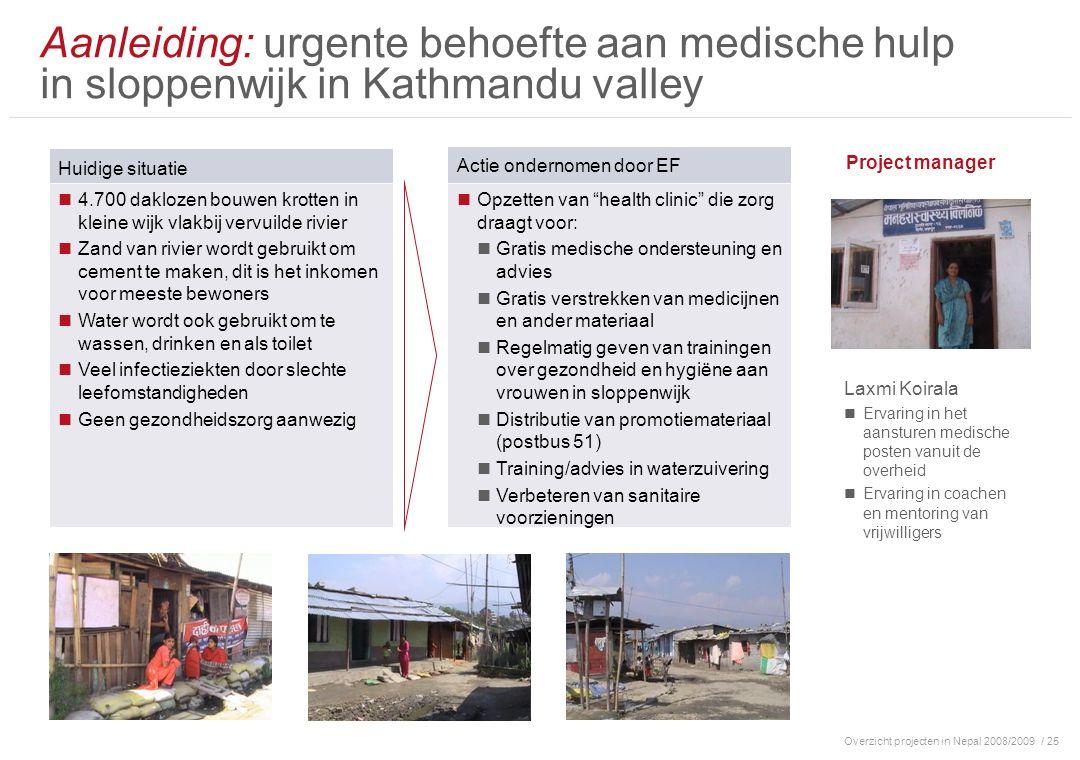 Overzicht projecten in Nepal 2008/2009/ 25 Aanleiding: urgente behoefte aan medische hulp in sloppenwijk in Kathmandu valley Huidige situatie 4.700 da