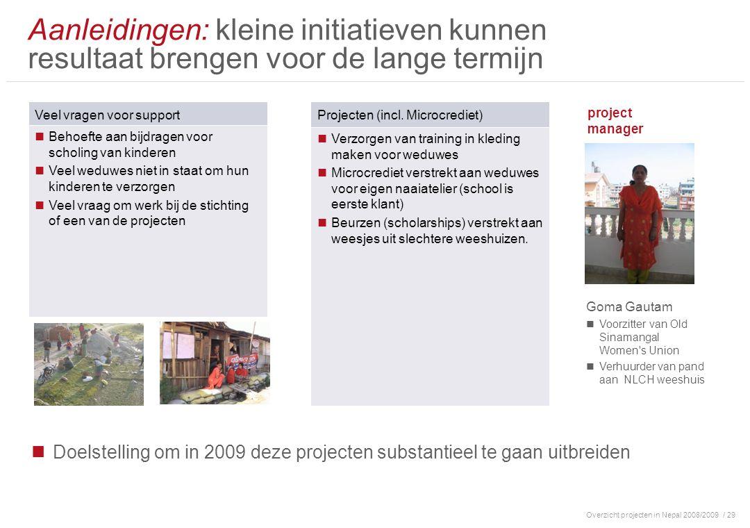 Overzicht projecten in Nepal 2008/2009/ 29 Aanleidingen: kleine initiatieven kunnen resultaat brengen voor de lange termijn Veel vragen voor support B