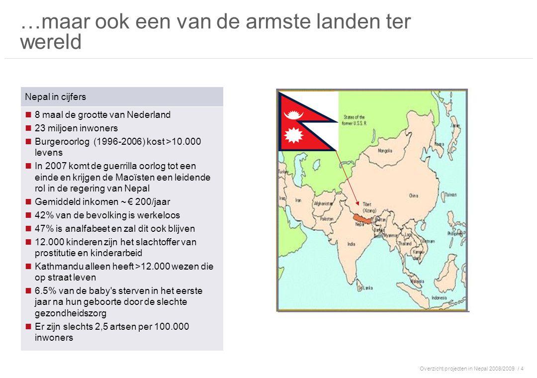 Overzicht projecten in Nepal 2008/2009/ 4 …maar ook een van de armste landen ter wereld Nepal in cijfers 8 maal de grootte van Nederland 23 miljoen in