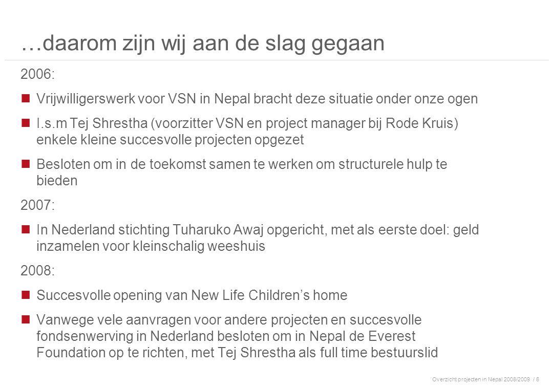 Overzicht projecten in Nepal 2008/2009/ 7 Inhoud 1.Achtergrond 2.Organisatie 3.Huidige projecten 4.Tuharuko Awaj: Financieel overzicht 2008 5.Bijdragen & contact