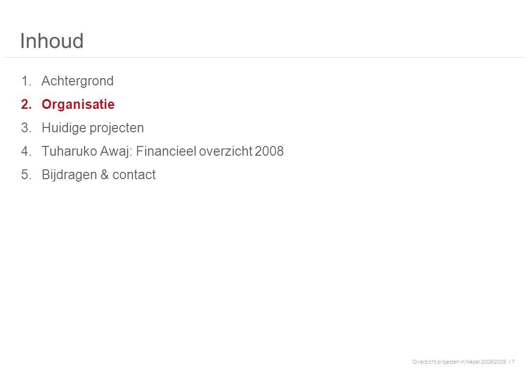 Overzicht projecten in Nepal 2008/2009/ 7 Inhoud 1.Achtergrond 2.Organisatie 3.Huidige projecten 4.Tuharuko Awaj: Financieel overzicht 2008 5.Bijdrage