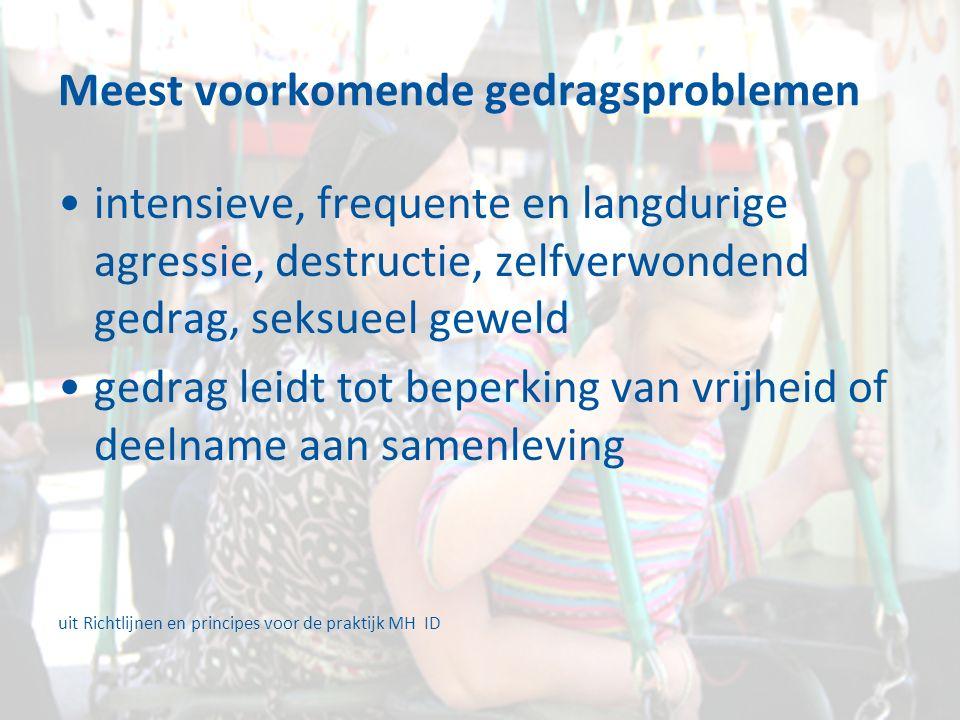 Meest voorkomende gedragsproblemen intensieve, frequente en langdurige agressie, destructie, zelfverwondend gedrag, seksueel geweld gedrag leidt tot beperking van vrijheid of deelname aan samenleving uit Richtlijnen en principes voor de praktijk MH ID