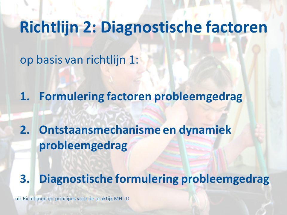 Richtlijn 2: Diagnostische factoren op basis van richtlijn 1: 1.Formulering factoren probleemgedrag 2.Ontstaansmechanisme en dynamiek probleemgedrag 3.Diagnostische formulering probleemgedrag uit Richtlijnen en principes voor de praktijk MH ID
