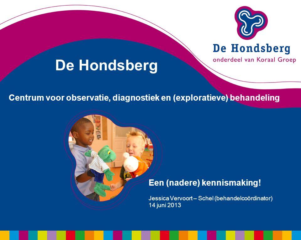 De Hondsberg Centrum voor observatie, diagnostiek en (exploratieve) behandeling Een (nadere) kennismaking! Jessica Vervoort – Schel (behandelcoördinat
