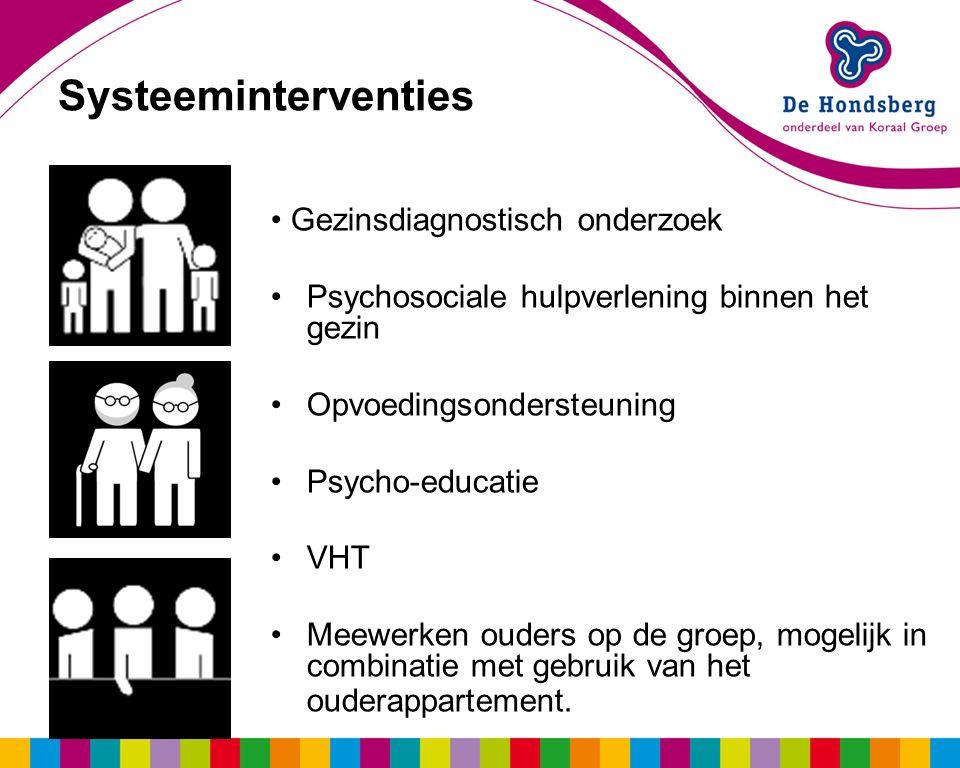 Systeeminterventies Gezinsdiagnostisch onderzoek Psychosociale hulpverlening binnen het gezin Opvoedingsondersteuning Psycho-educatie VHT Meewerken ouders op de groep, mogelijk in combinatie met gebruik van het ouderappartement.