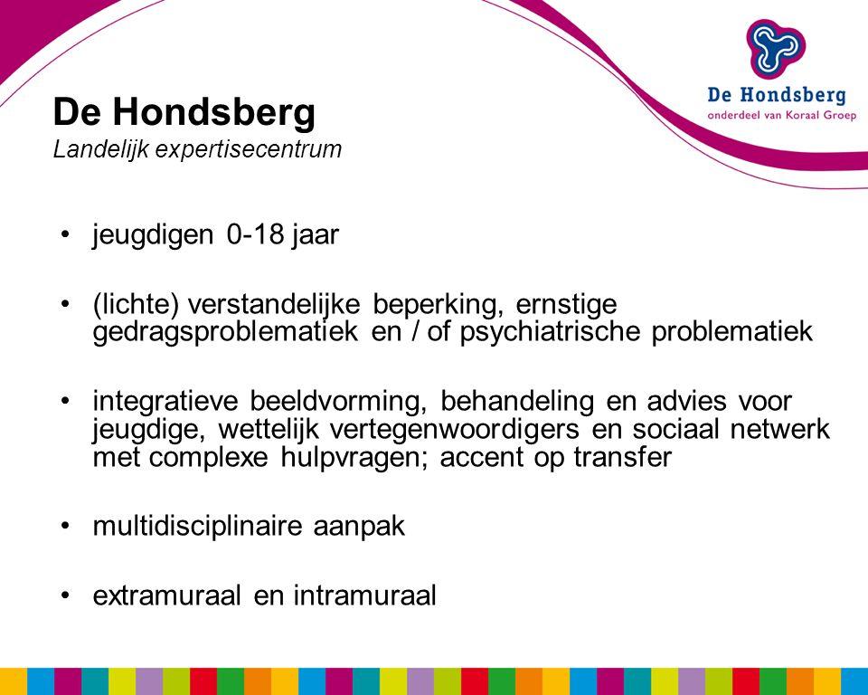 De Hondsberg Landelijk expertisecentrum jeugdigen 0-18 jaar (lichte) verstandelijke beperking, ernstige gedragsproblematiek en / of psychiatrische problematiek integratieve beeldvorming, behandeling en advies voor jeugdige, wettelijk vertegenwoordigers en sociaal netwerk met complexe hulpvragen; accent op transfer multidisciplinaire aanpak extramuraal en intramuraal
