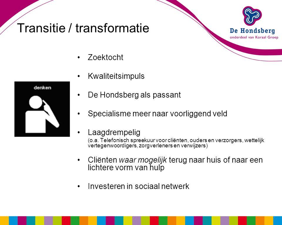 Transitie / transformatie Zoektocht Kwaliteitsimpuls De Hondsberg als passant Specialisme meer naar voorliggend veld Laagdrempelig (o.a. Telefonisch s