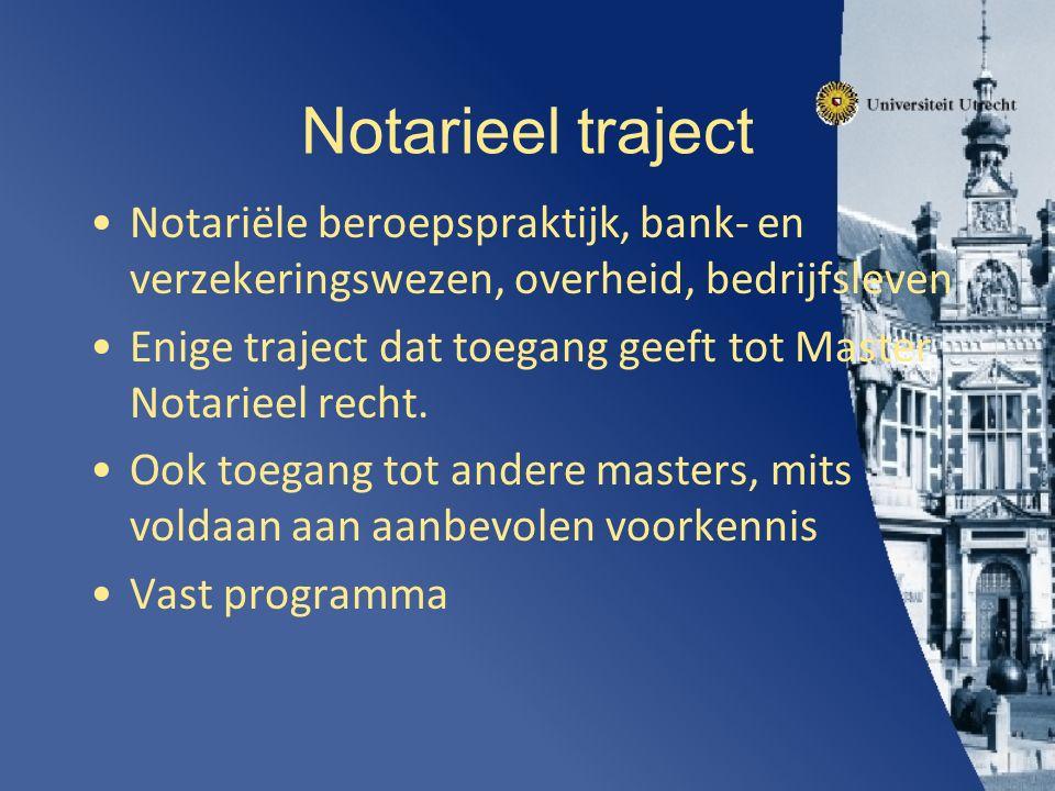 Notarieel traject Notariële beroepspraktijk, bank- en verzekeringswezen, overheid, bedrijfsleven Enige traject dat toegang geeft tot Master Notarieel recht.