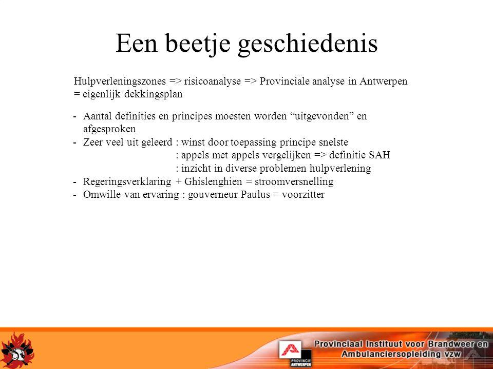 Een beetje geschiedenis Hulpverleningszones => risicoanalyse => Provinciale analyse in Antwerpen = eigenlijk dekkingsplan -Aantal definities en princi