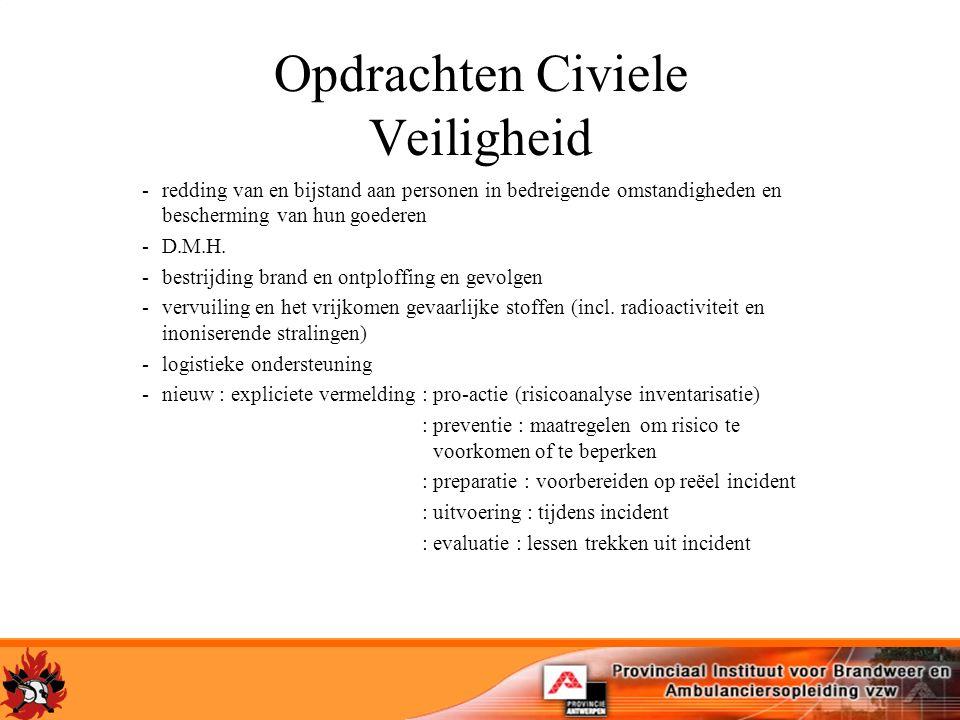 Opdrachten Civiele Veiligheid -redding van en bijstand aan personen in bedreigende omstandigheden en bescherming van hun goederen -D.M.H. -bestrijding