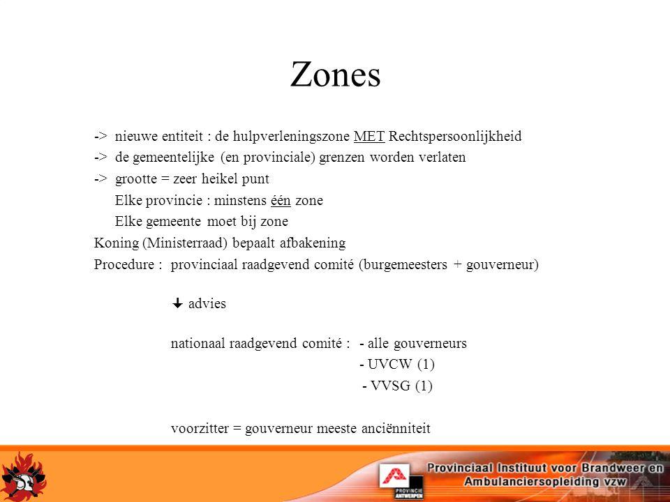 Zones ->nieuwe entiteit : de hulpverleningszone MET Rechtspersoonlijkheid ->de gemeentelijke (en provinciale) grenzen worden verlaten ->grootte = zeer