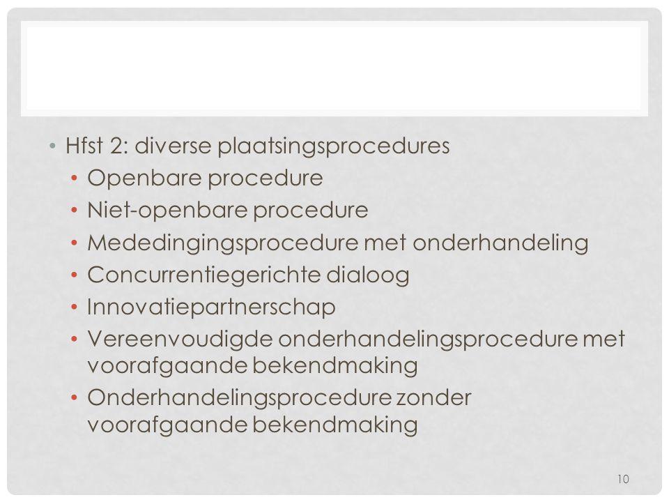Hfst 2: diverse plaatsingsprocedures Openbare procedure Niet-openbare procedure Mededingingsprocedure met onderhandeling Concurrentiegerichte dialoog Innovatiepartnerschap Vereenvoudigde onderhandelingsprocedure met voorafgaande bekendmaking Onderhandelingsprocedure zonder voorafgaande bekendmaking 10