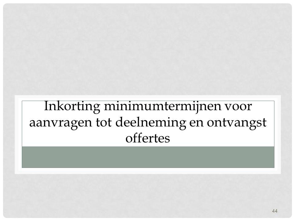 44 Inkorting minimumtermijnen voor aanvragen tot deelneming en ontvangst offertes