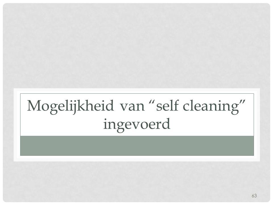 63 Mogelijkheid van self cleaning ingevoerd