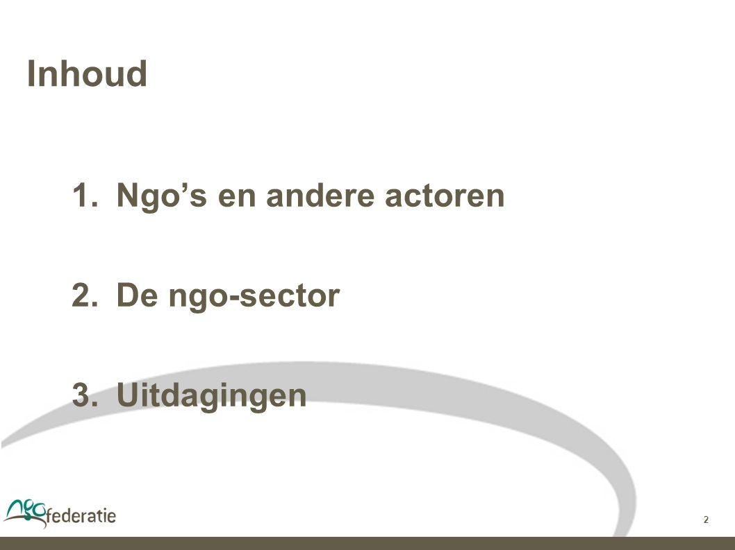 2 Inhoud  Ngo's en andere actoren  De ngo-sector  Uitdagingen