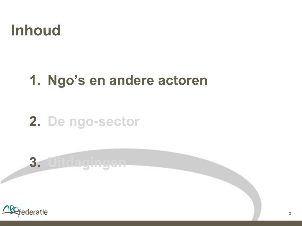 3 Inhoud  Ngo's en andere actoren  De ngo-sector  Uitdagingen