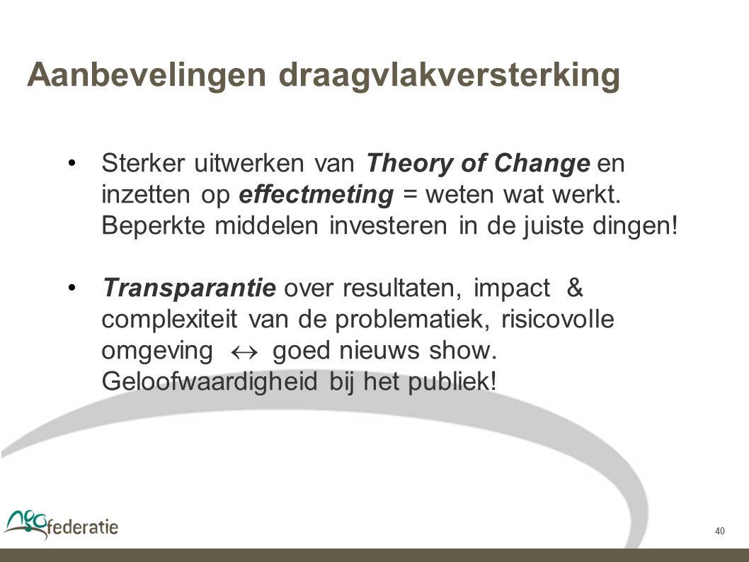 40 Aanbevelingen draagvlakversterking Sterker uitwerken van Theory of Change en inzetten op effectmeting = weten wat werkt.