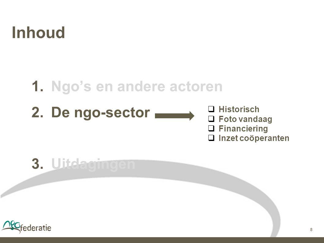 8 Inhoud  Ngo's en andere actoren  De ngo-sector  Uitdagingen  Historisch  Foto vandaag  Financiering  Inzet coöperanten