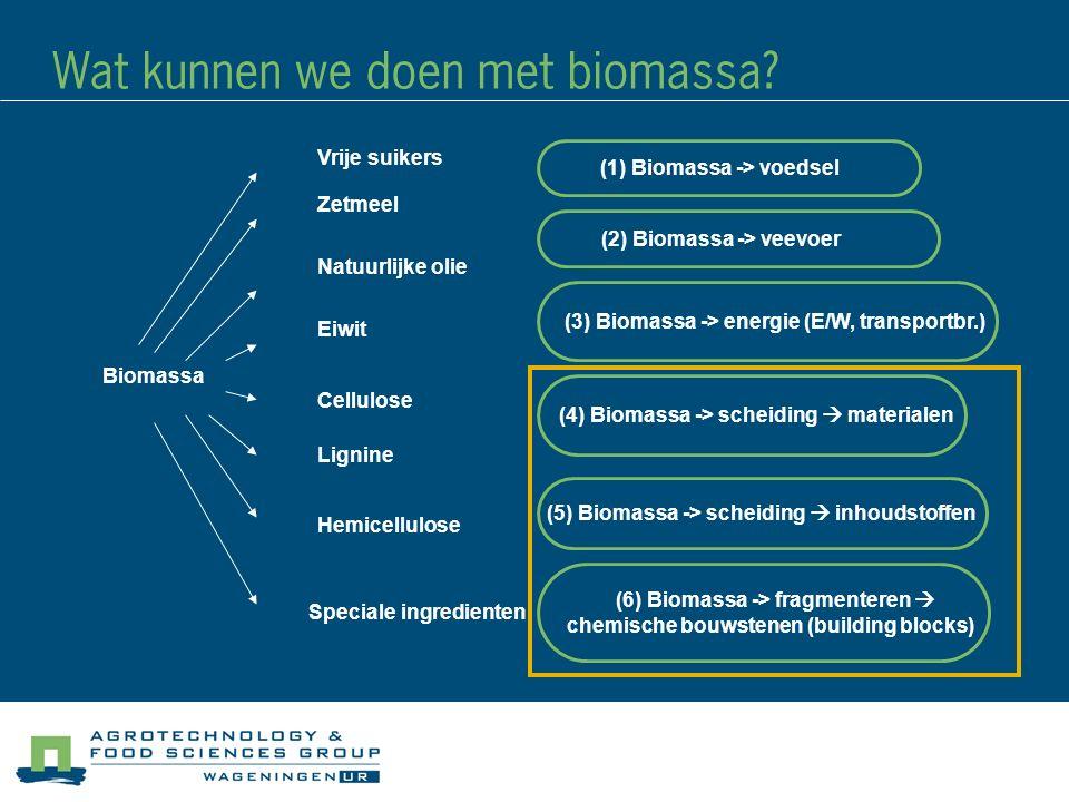 Cellulose Zetmeel Natuurlijke olie Lignine Eiwit Hemicellulose Speciale ingredienten Biomassa Vrije suikers (6) Biomassa -> fragmenteren  chemische bouwstenen (building blocks) (5) Biomassa -> scheiding  inhoudstoffen (4) Biomassa -> scheiding  materialen (3) Biomassa -> energie (E/W, transportbr.) (2) Biomassa -> veevoer (1) Biomassa -> voedsel Wat kunnen we doen met biomassa?