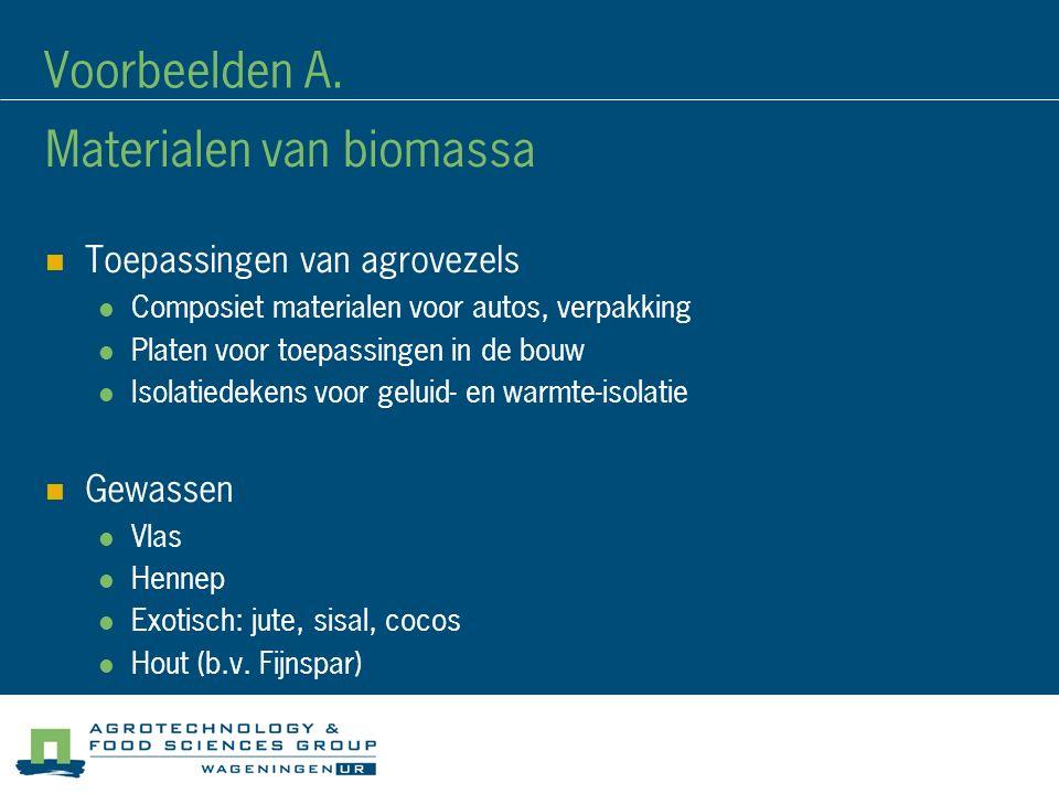 Materialen van biomassa Toepassingen van agrovezels Composiet materialen voor autos, verpakking Platen voor toepassingen in de bouw Isolatiedekens voor geluid- en warmte-isolatie Gewassen Vlas Hennep Exotisch: jute, sisal, cocos Hout (b.v.