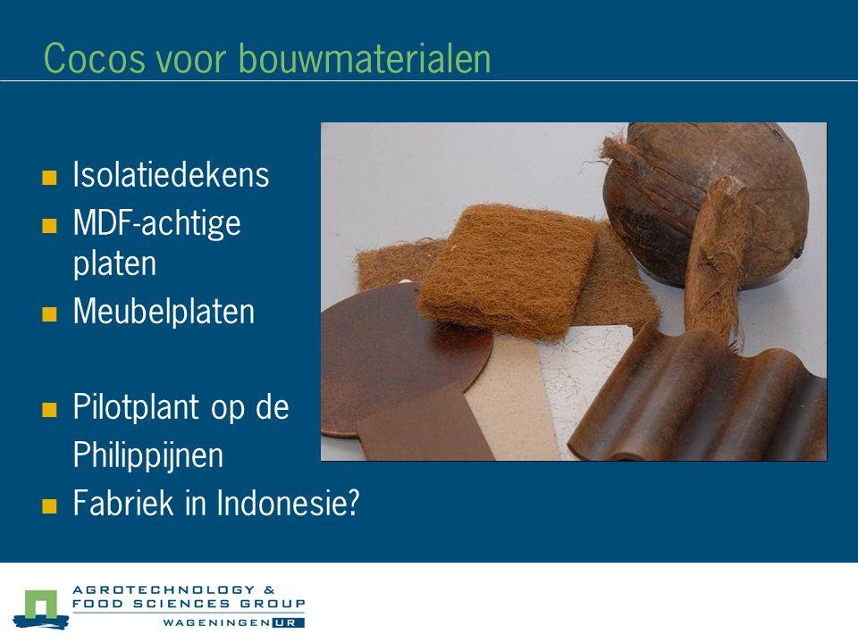 Cocos voor bouwmaterialen Isolatiedekens MDF-achtige platen Meubelplaten Pilotplant op de Philippijnen Fabriek in Indonesie?