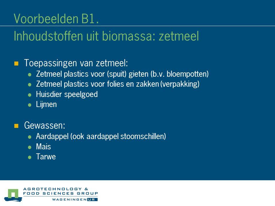 Voorbeelden B1. Inhoudstoffen uit biomassa: zetmeel Toepassingen van zetmeel: Zetmeel plastics voor (spuit) gieten (b.v. bloempotten) Zetmeel plastics