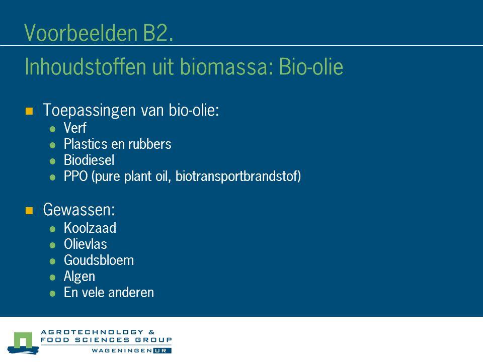 Voorbeelden B2. Inhoudstoffen uit biomassa: Bio-olie Toepassingen van bio-olie: Verf Plastics en rubbers Biodiesel PPO (pure plant oil, biotransportbr