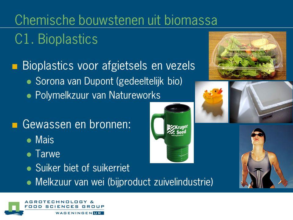 Chemische bouwstenen uit biomassa C1. Bioplastics Bioplastics voor afgietsels en vezels Sorona van Dupont (gedeeltelijk bio) Polymelkzuur van Naturewo