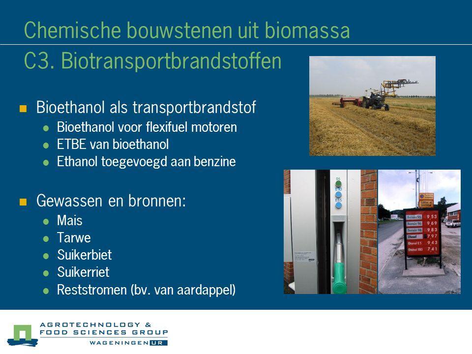 Bioethanol als transportbrandstof Bioethanol voor flexifuel motoren ETBE van bioethanol Ethanol toegevoegd aan benzine Gewassen en bronnen: Mais Tarwe Suikerbiet Suikerriet Reststromen (bv.