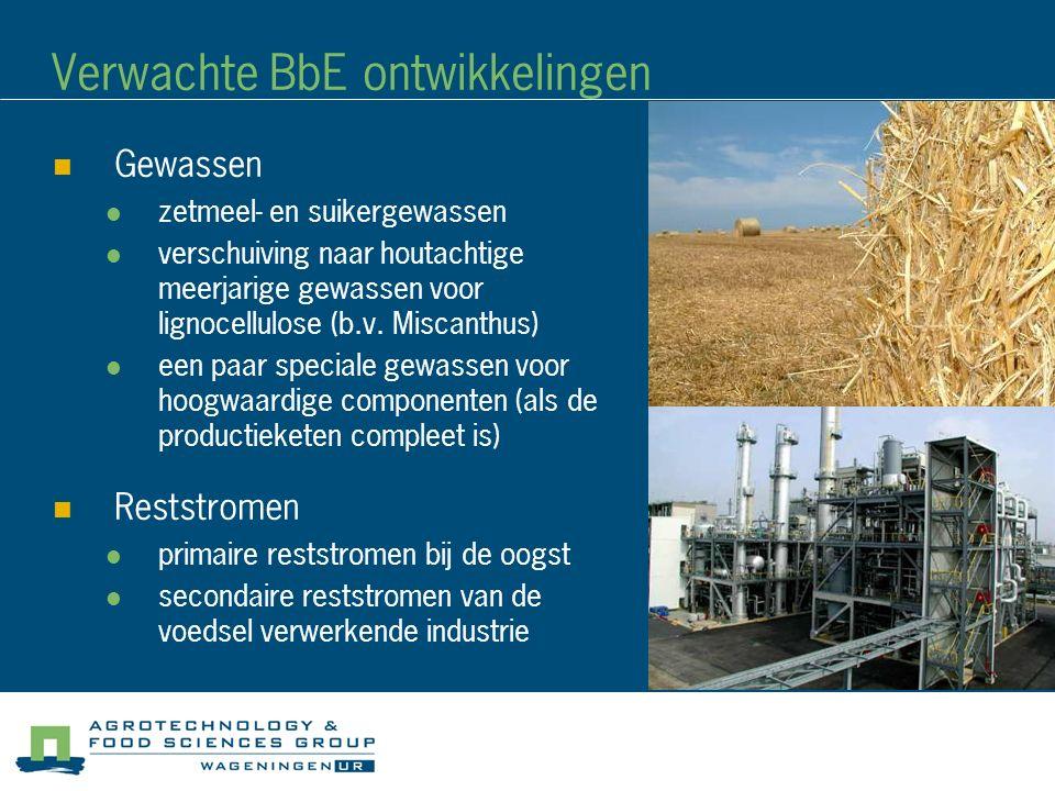 Verwachte BbE ontwikkelingen Gewassen zetmeel- en suikergewassen verschuiving naar houtachtige meerjarige gewassen voor lignocellulose (b.v. Miscanthu