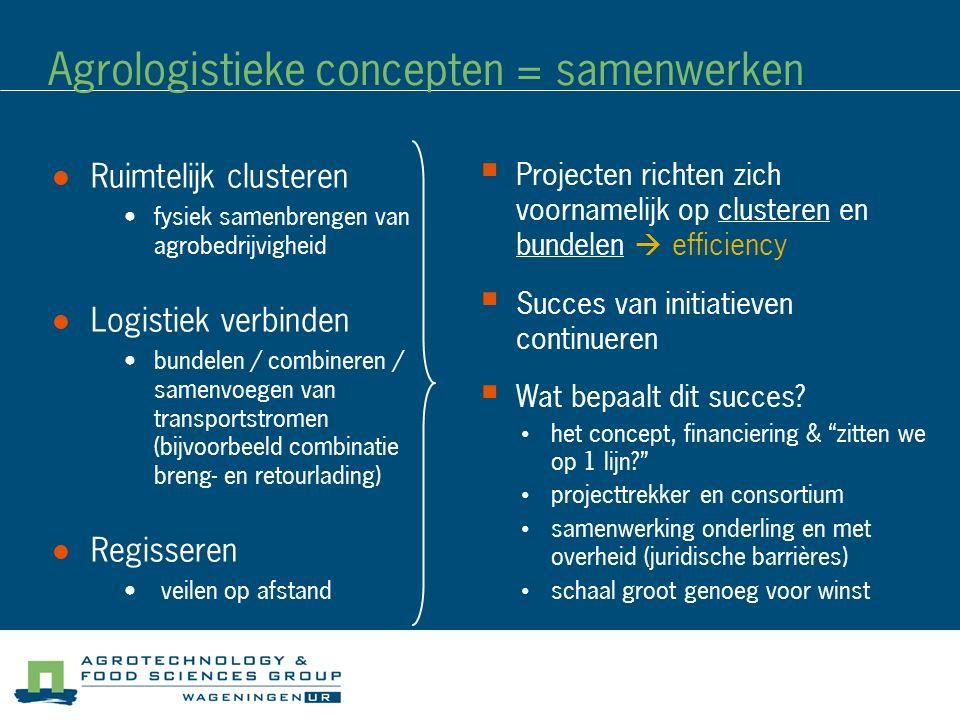Agrologistieke concepten = samenwerken Ruimtelijk clusteren fysiek samenbrengen van agrobedrijvigheid Logistiek verbinden bundelen / combineren / same